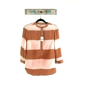 FOSSIL XS Marilyn Red Clay Tunic Popover Blouse